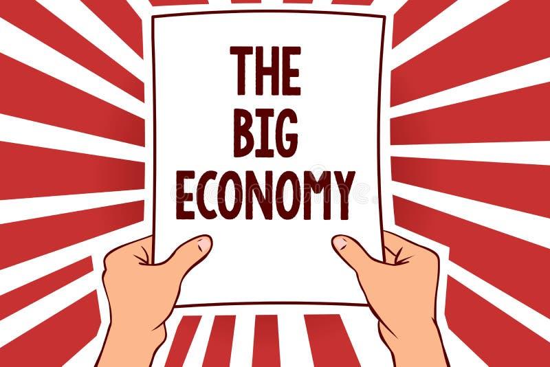 写大经济的手写文本 意味全球性财务全世界市场贸易兑换处人的概念拿着纸 向量例证
