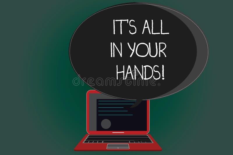 写它s的手写文本全部在您的手上 意味的概念我们拿着我们的命运和命运证明布局马勒  库存例证