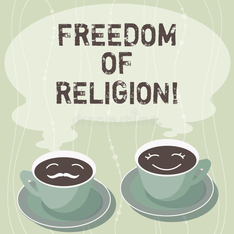 写宗教信仰自由的手写文本 概念意思权利奉行任何宗教一选择套  向量例证