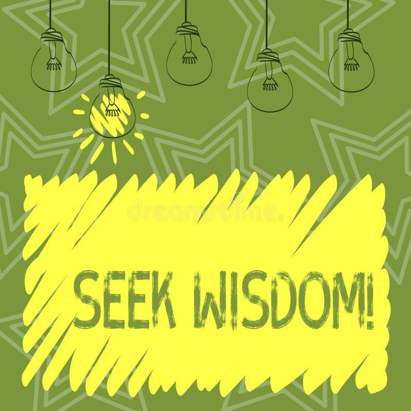 写寻求智慧的手写文本 使用知识经验了解的集合,意味能力的概念认为行动 向量例证