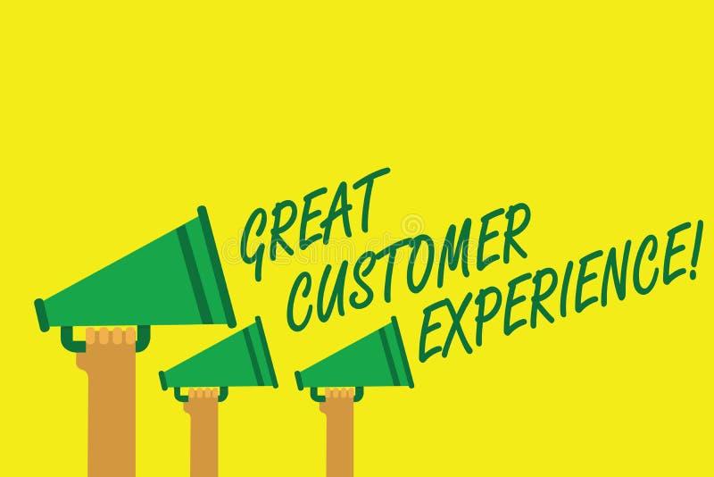 写巨大顾客经验的手写文本 反应有友好的有用的方式的客户的概念意思递举行 皇族释放例证