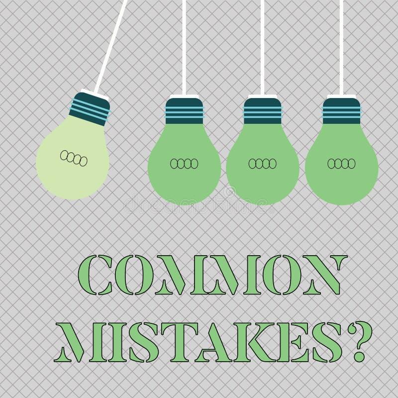 写常见错误问题的手写文本 意味重复行动或评断引入歧途或错误颜色的概念 库存例证
