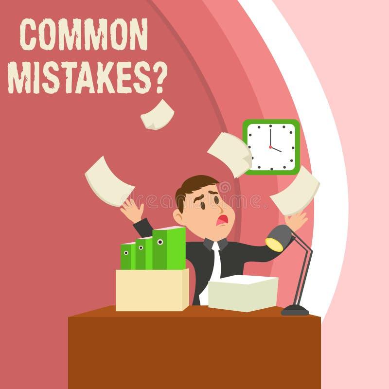 写常见错误问题的手写文本 错误概念意味重复行动的或的评断引入歧途或 库存例证