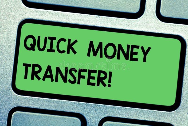 写快的汇款的手写文本 概念意思捷径电子上或完全移动金钱 库存例证