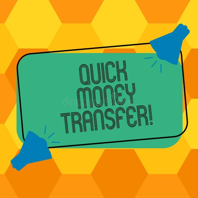 写快的汇款的手写文本 概念意思捷径移动金钱电子上或完全两 向量例证