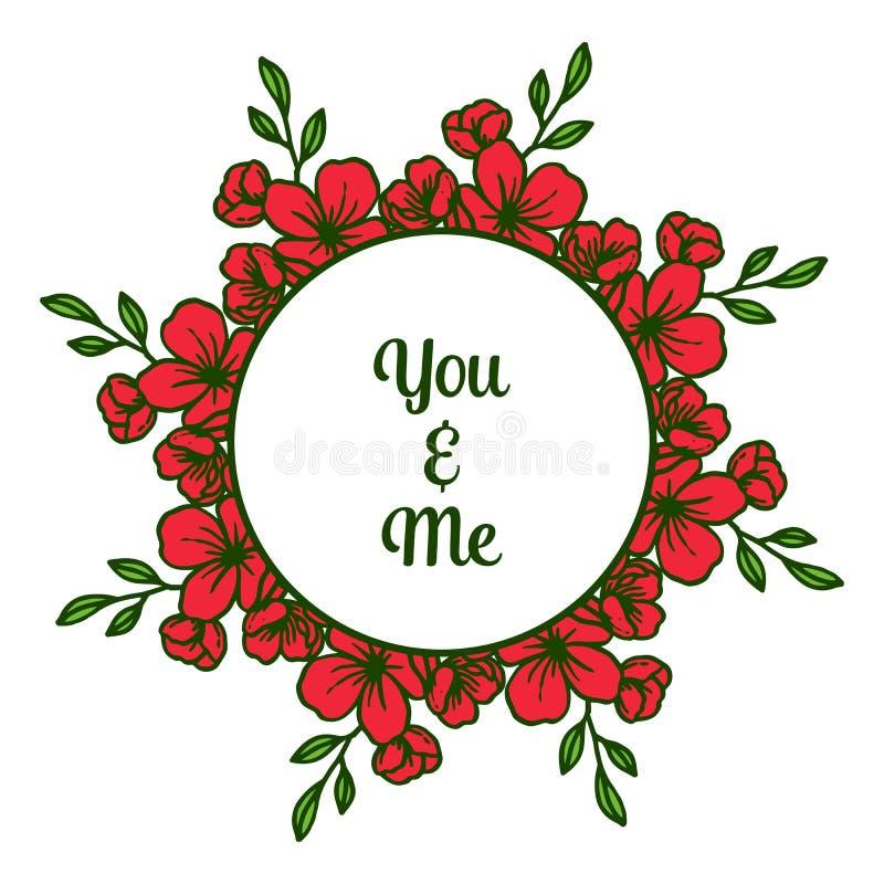 写您和我的传染媒介例证与非常美好的红色花框架 皇族释放例证
