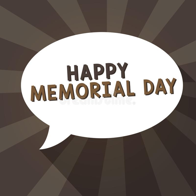 写愉快的阵亡将士纪念日的手写文本 尊敬概念的意思记住在兵役死的那些人 向量例证