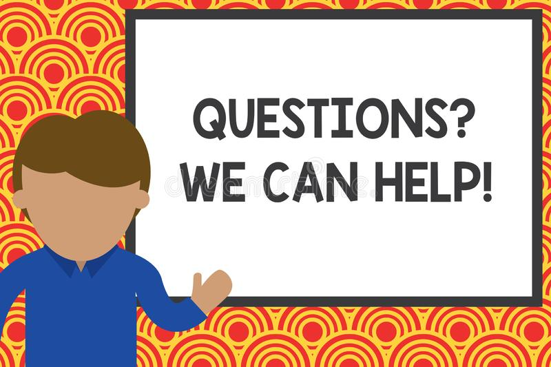 写我们可以帮助的Questionsquestion的手写文本 要认识年轻对那些人的概念意思提供的帮助 库存例证