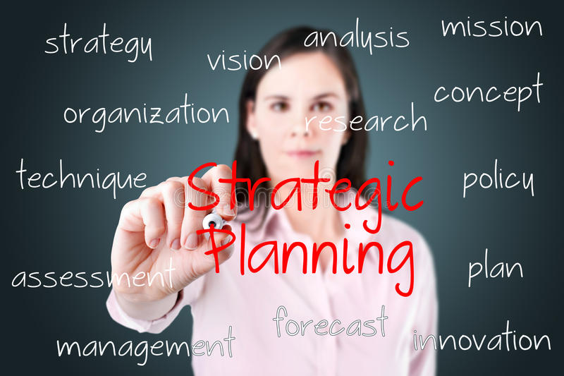 写战略计划概念的女商人。 库存照片