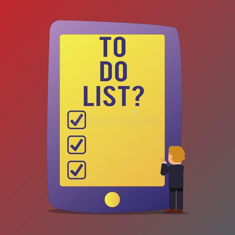 写手写的文本做名单问题 意味按顺序优先权需要完成组织的任务的概念 库存例证