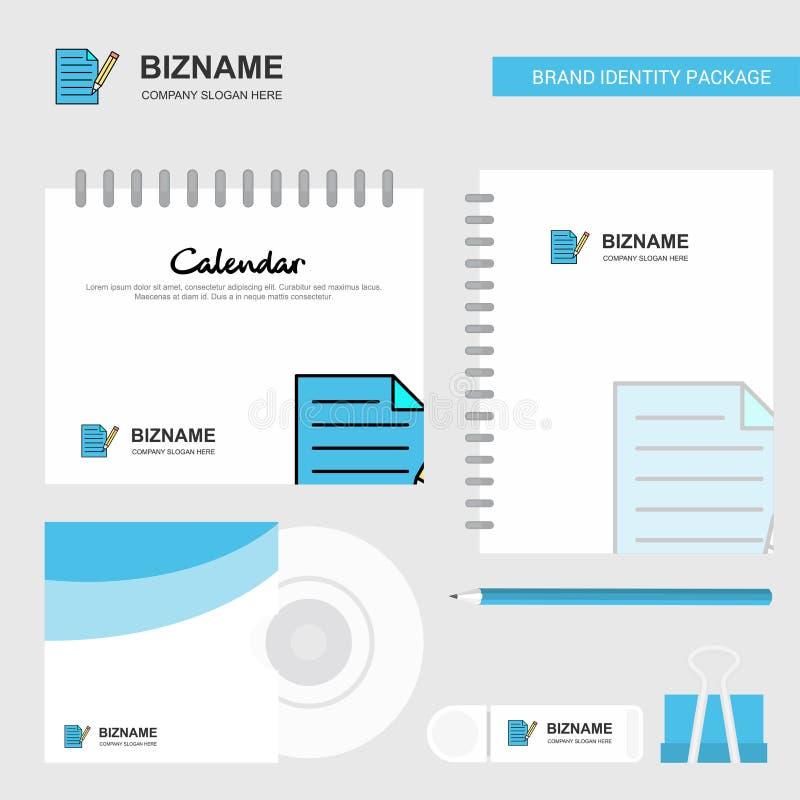 写文件商标、日历模板、CD的盖子、日志和USB品牌固定式成套设计传染媒介模板 向量例证