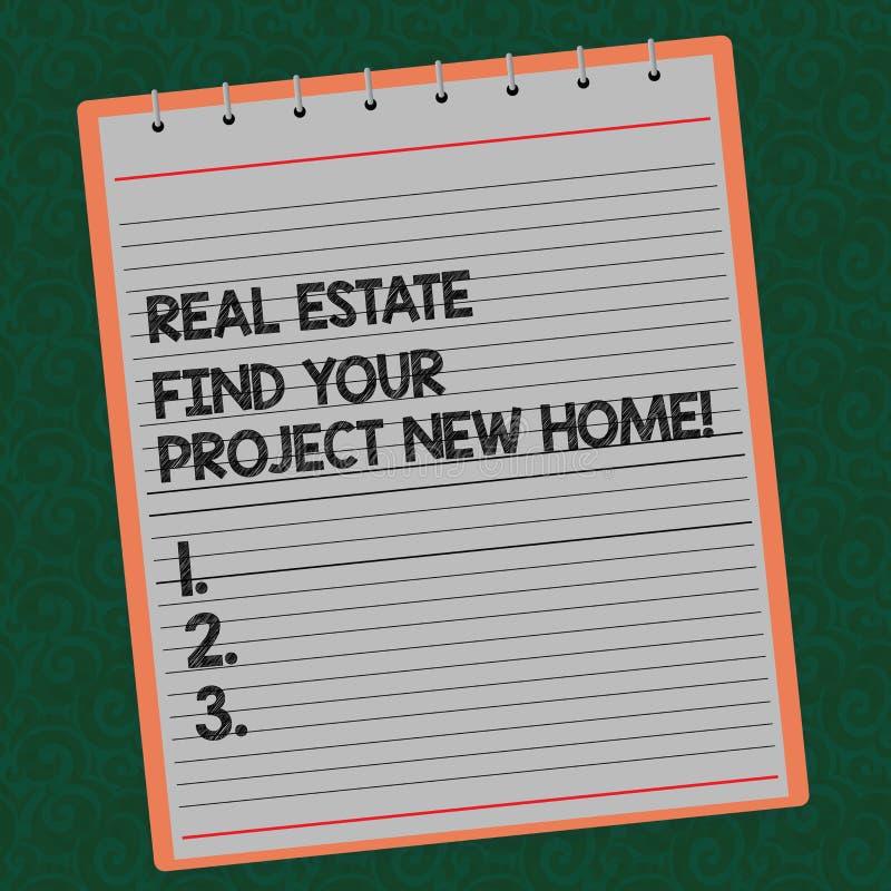 写文本不动产的词发现您的项目新的家 寻找的房产被排行的螺旋企业概念 免版税库存图片