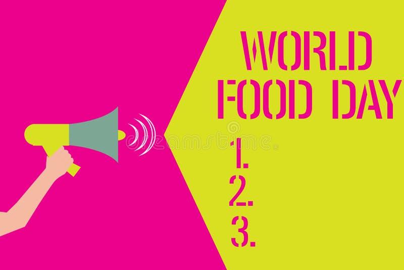 写文本世界粮食日的词 企业概念为世界天行动致力应付全球性饥饿 库存例证