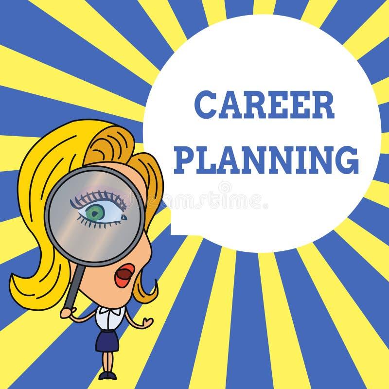 写文本事业规划的词 战略上计划的企业概念您的事业目标和工作成功妇女 皇族释放例证