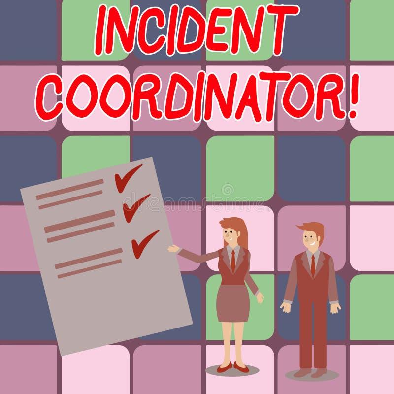 写文本事件协调员的词 负责的企业概念对事件男人和妇女的正直 库存例证