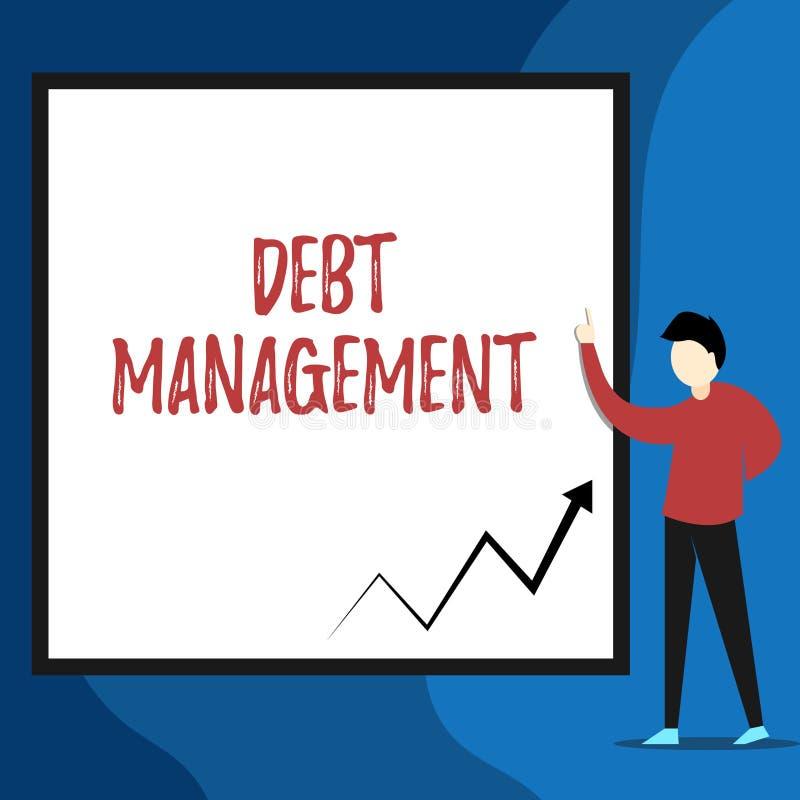 写文本债务管理的词 正式协议的企业概念在债家和债权人视图年轻人之间 向量例证