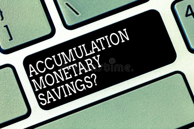 写文本储积金钱Savingsquestion的词 增量的企业概念在金融性资产键盘键 免版税库存图片