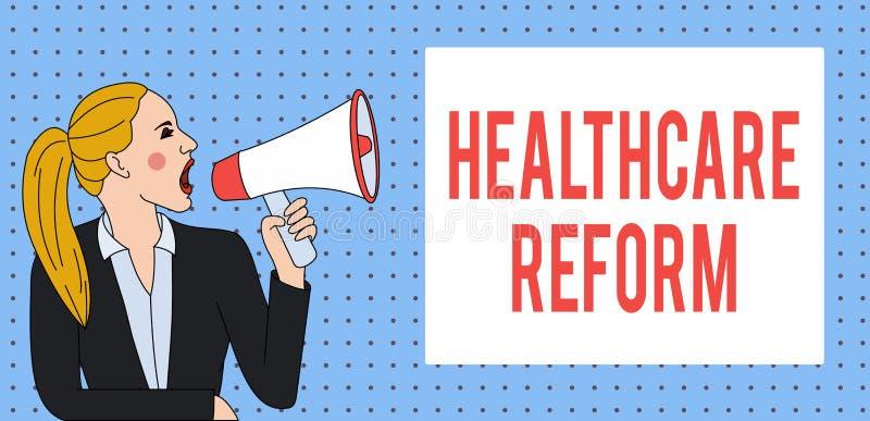 写文本医疗保健改革的词 创新的企业概念和改善进入关心节目的质量 向量例证