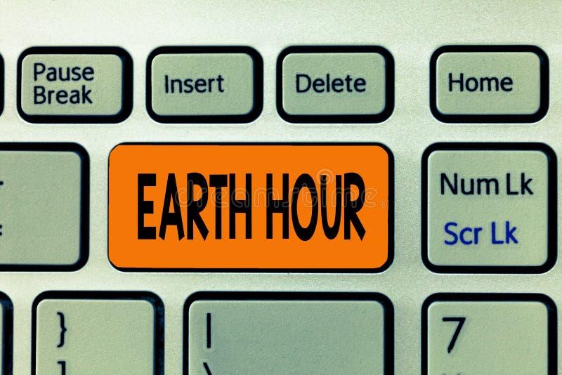 写文本地球小时的词 全球性运动的企业概念能呼吁对气候变化的更加巨大的行动 库存图片