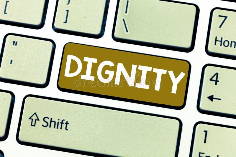 写文本尊严的词 是的质量的企业概念值得的荣誉尊敬严肃的analysisner样式 库存图片