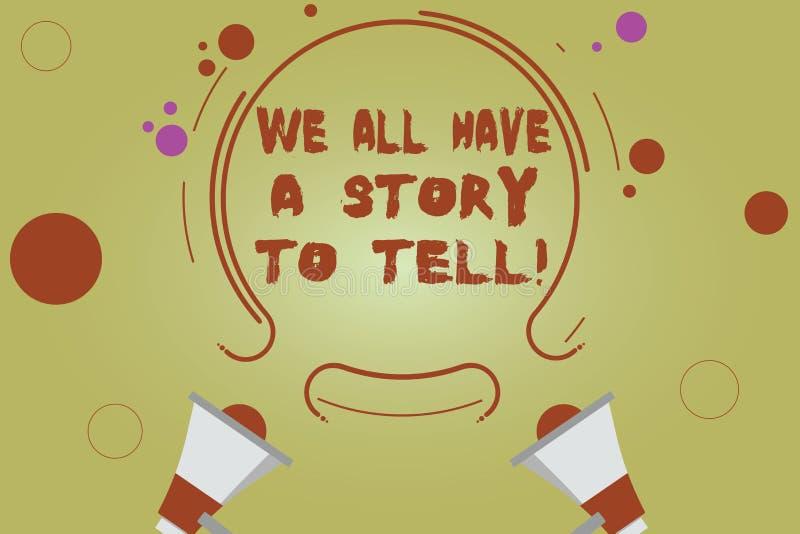 写文本我们的词所有有知道一个的故事 分享过去demonstratingal经验两的讲故事的企业概念 库存例证