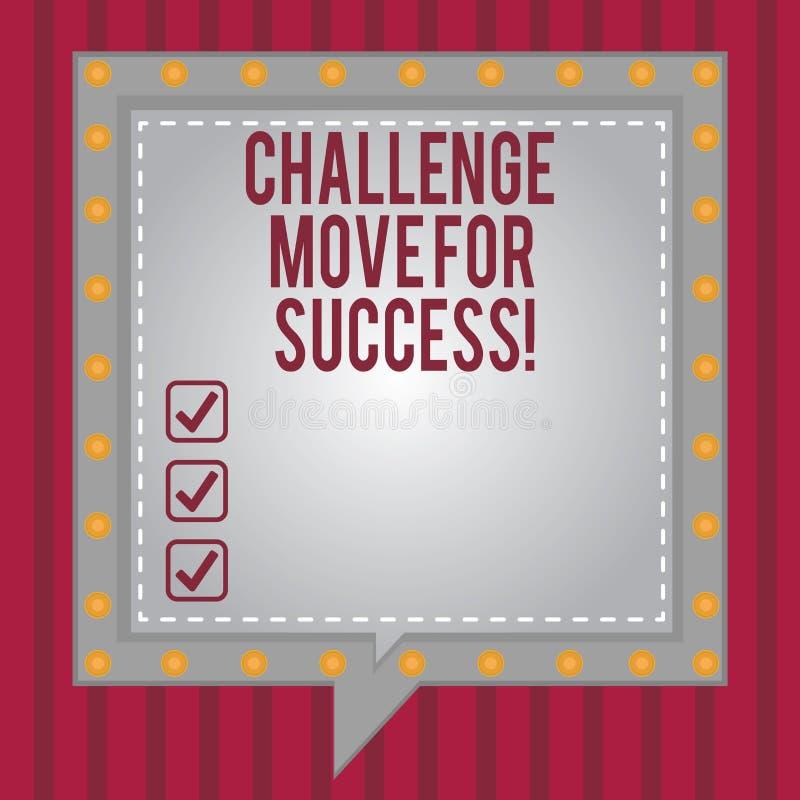 写文本挑战移动的词为成功 专业运动战略的企业概念能成功正方形 库存例证