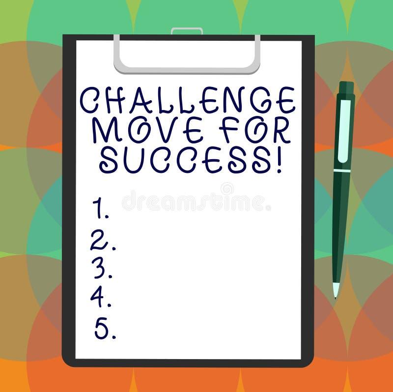 写文本挑战移动的词为成功 专业运动战略的企业概念能成功空白 库存例证