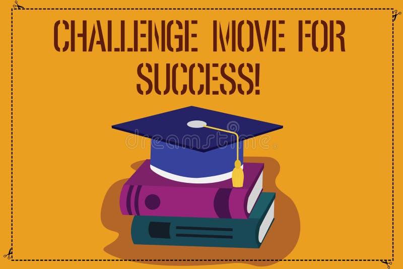 写文本挑战移动的词为成功 专业运动战略的企业概念能成功颜色 向量例证
