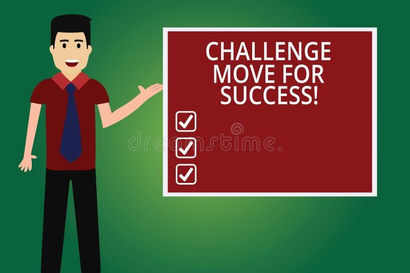 写文本挑战移动的词为成功 专业运动战略的企业概念能继有领带的人之后 皇族释放例证