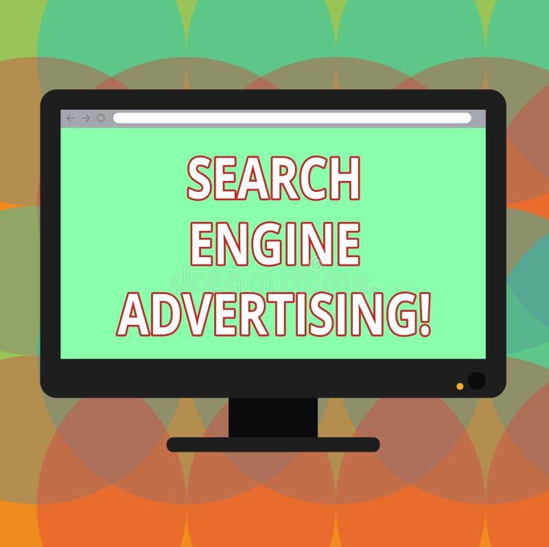 写文本搜索引擎广告的词 安置一台网上广告空白的计算机方法的企业概念  库存例证
