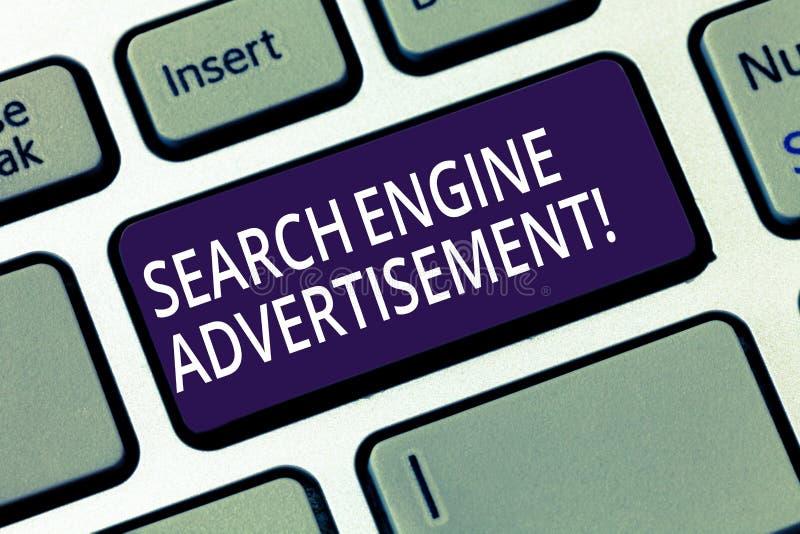 写文本搜索引擎广告的词 安置的网上广告企业概念在网页键盘 库存例证
