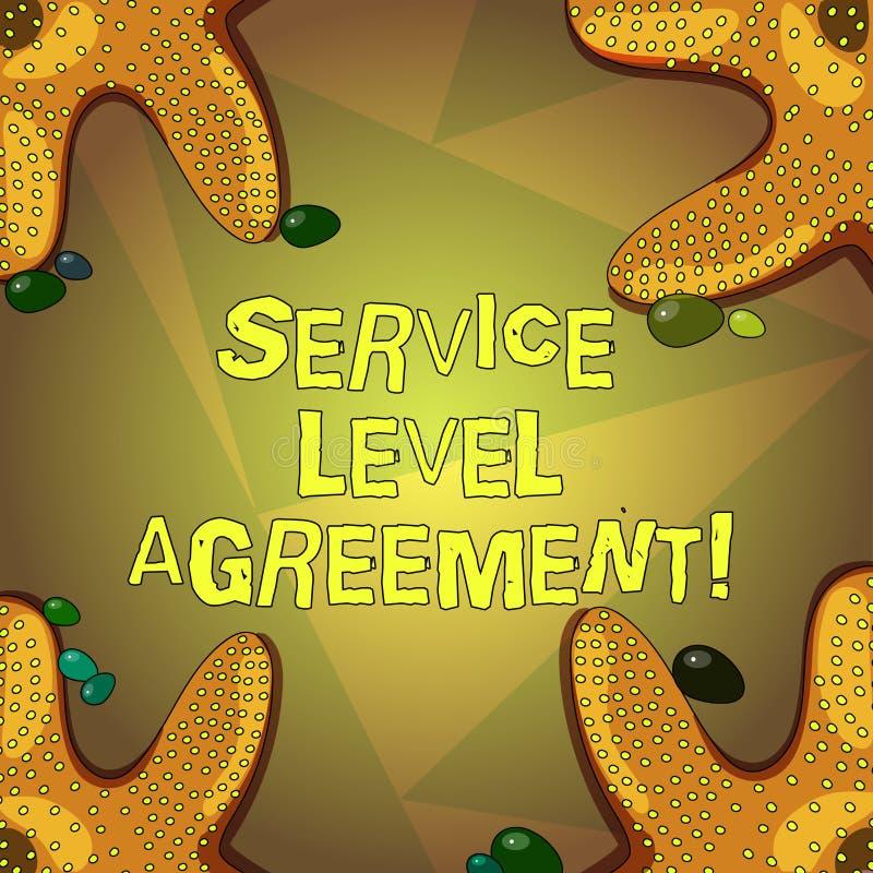 写文本服务水准协议的词 承诺的企业概念在提供商和客户之间 库存例证