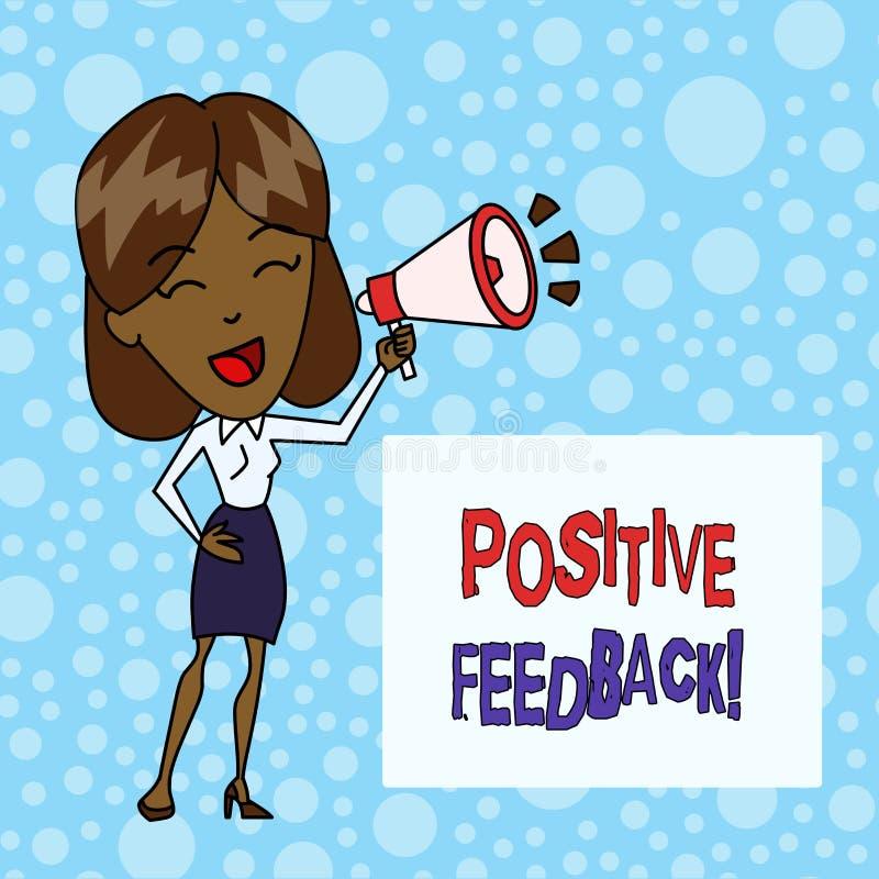 写文本正面反馈的词 来自满意的顾客的好和巨大评论的企业概念 库存例证