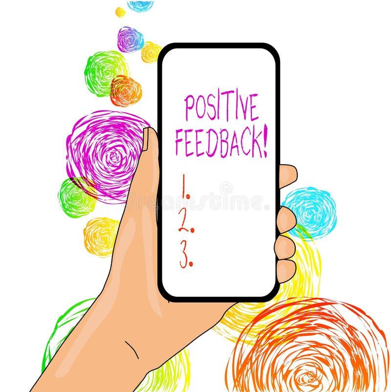 写文本正面反馈的词 来自满意的顾客的好和巨大评论的企业概念 皇族释放例证