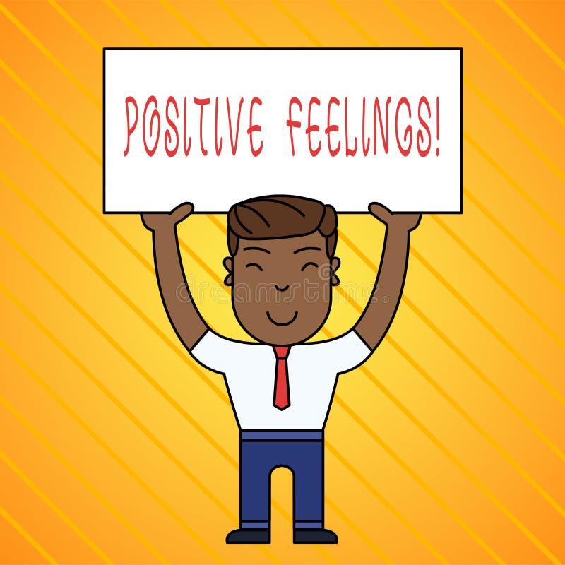 写文本正面感觉的词 有缺乏否定性或悲伤的任何感觉的企业概念 库存例证