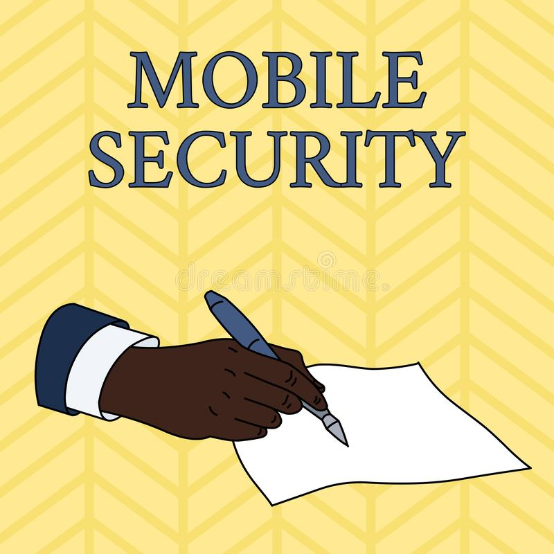 写文本流动安全的词 手机的保护的企业概念免受男性威胁和弱点 皇族释放例证