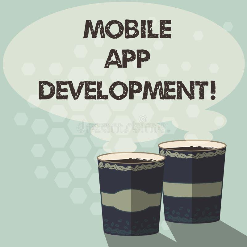 写文本流动应用程序发展的词 在写软件介入的做法的企业概念小配件的两去杯 向量例证