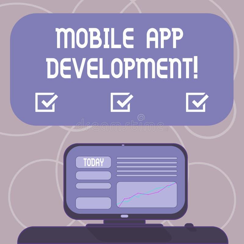 写文本流动应用程序发展的词 在写软件介入的做法的企业概念登上的小配件的 库存例证