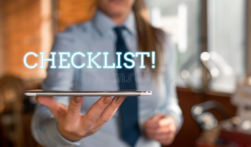 写文本清单企业概念的词为名单项目要求事做或点被认为被弄脏的妇女 免版税库存照片