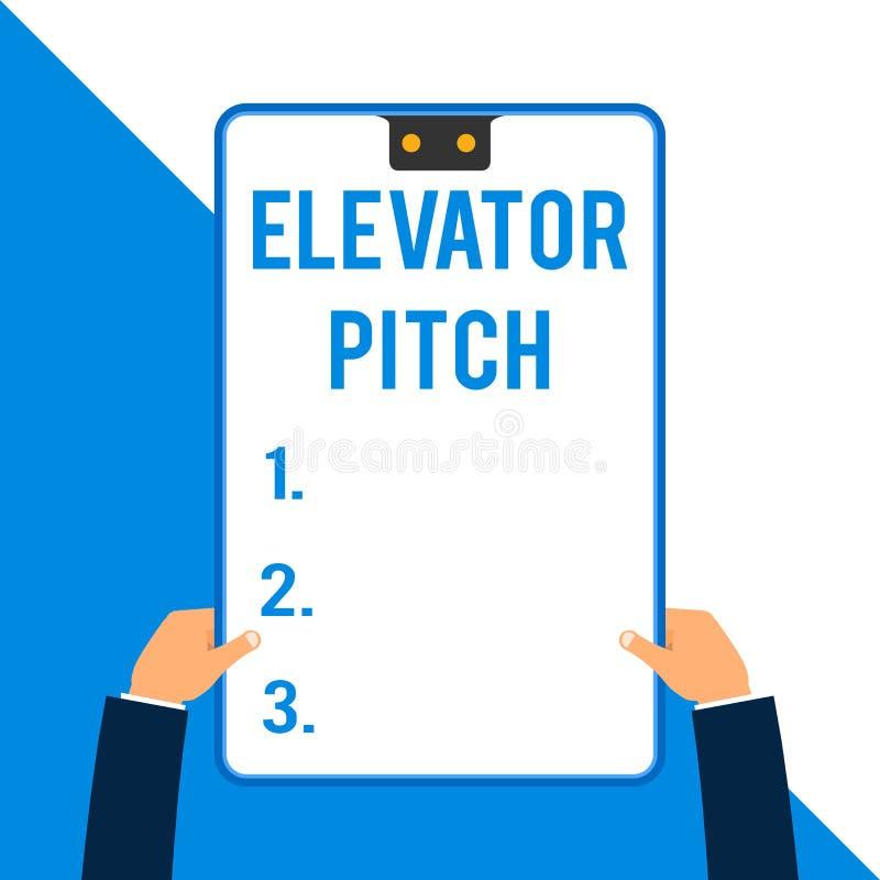 写文本电梯沥青的词 的企业概念令人信服的销售摊点简要的讲话关于产品两 库存例证
