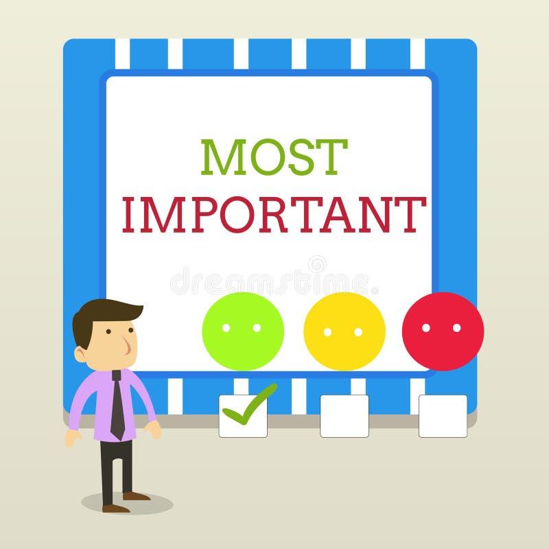 写文本的词最重要 最了不起或高度数量或类似物重大白色的企业概念 库存例证