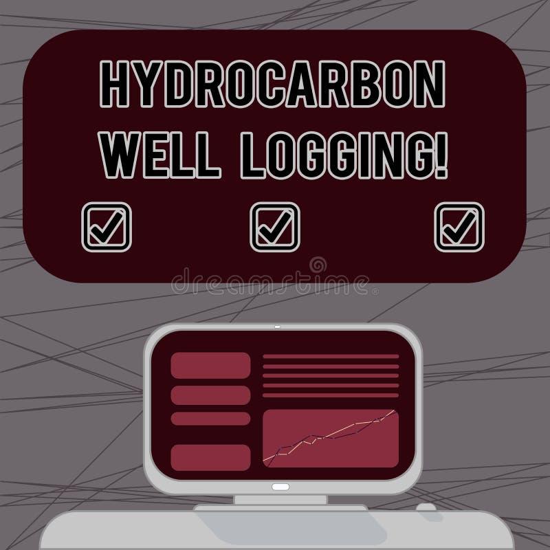 写文本碳氢化合物钻井测试的词 钻孔登上的计算机的地质结构的纪录的企业概念 向量例证
