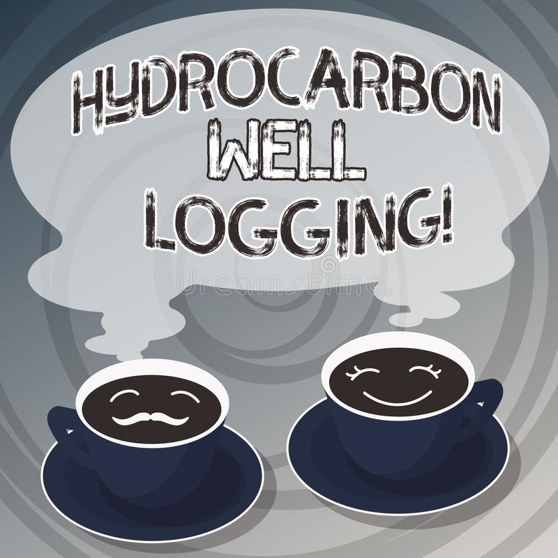 写文本碳氢化合物钻井测试的词 钻孔的地质结构的纪录的企业概念设置杯 库存例证