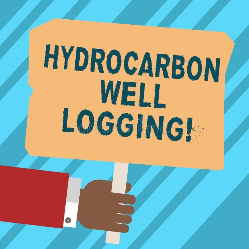 写文本碳氢化合物钻井测试的词 钻孔胡分析手的地质结构的纪录的企业概念 向量例证