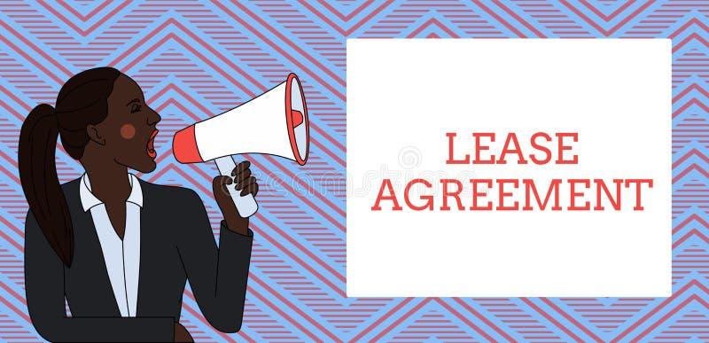 写文本租借协定的词 合同的企业概念以对一个党的方式同意租物产年轻人 库存例证