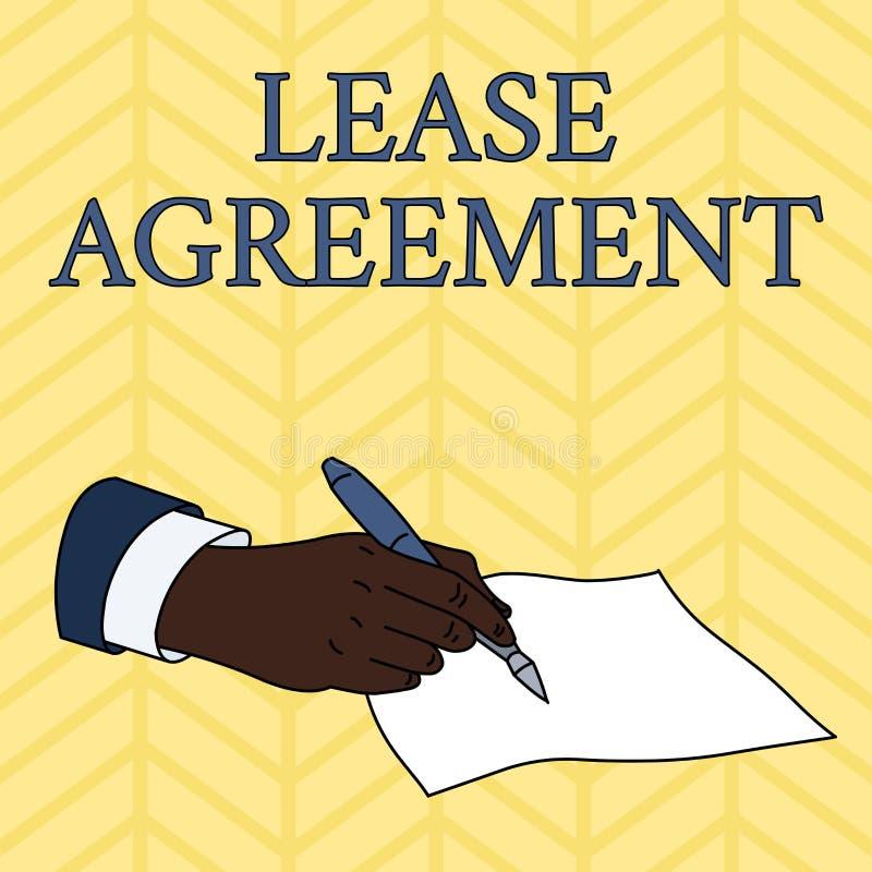写文本租借协定的词 合同的企业概念以对一个党的方式同意租物产男性 向量例证
