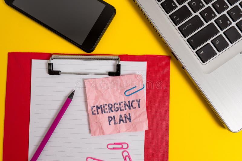 写文本紧急办法的词 方法的企业概念处理的突然或意想不到的情况膝上型计算机 库存照片