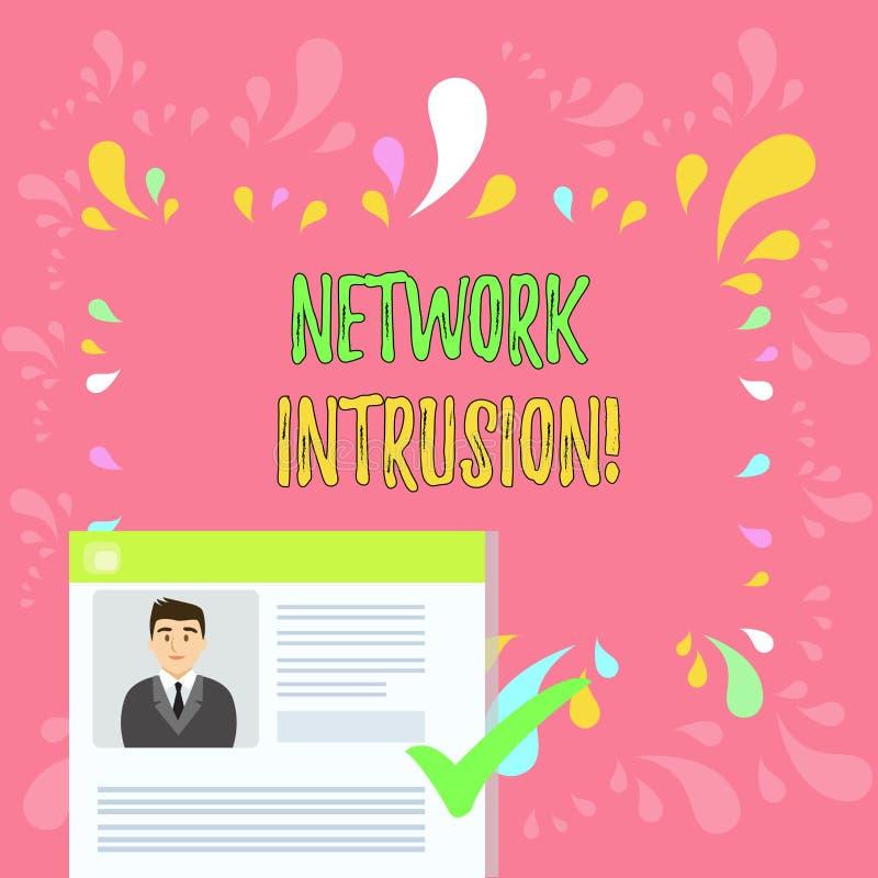 写文本网络闯入的词 监测一个网络的设备或软件应用的企业概念 皇族释放例证