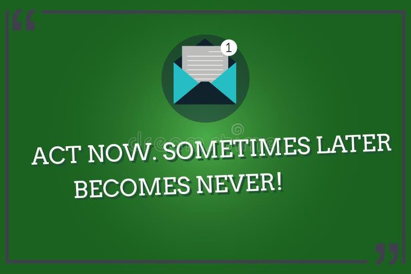 写文本行动的词从未有时以后现在成为 企业概念为做事立即占领片刻开放信封 向量例证