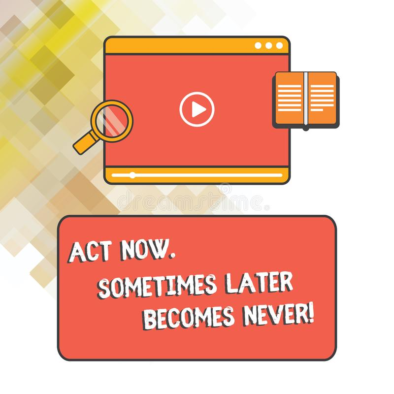 写文本行动的词从未有时以后现在成为 企业概念为做事立即缴获片刻片剂录影 库存例证